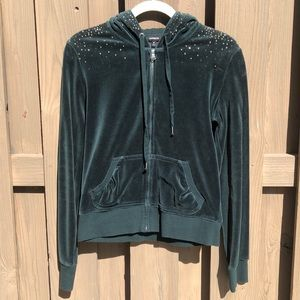 Emerald Green Velour Hoodie with Rhinestone detail